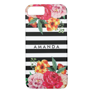 Black stripes Watercolor Peony Flowers YOUR NAME iPhone 8/7 Case