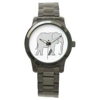 Black Stripes White Elephant Stylish Simple Chic Wrist Watch