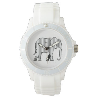 Black Stripes White Elephant Stylish Simple Fancy Watch