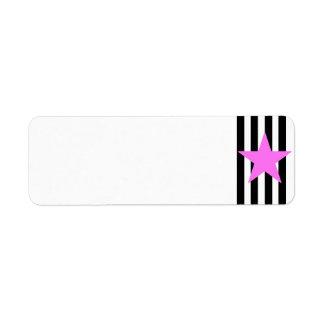 Black Strips Pink Star- Customizable Background Return Address Label