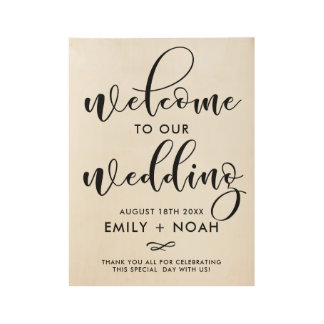 Black Stylish Script Wedding Welcome Sign