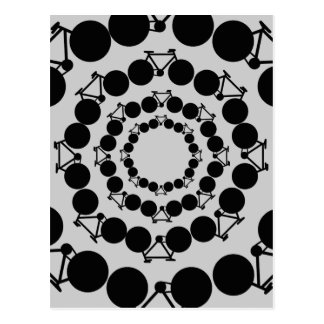 black stylized bicycles in circles postcard