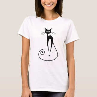 Black Stylized Cat T-Shirt