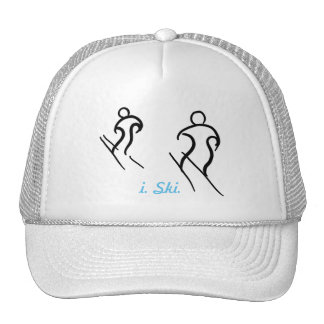 Black Stylized Skiers Skiing and i. Ski. text Cap