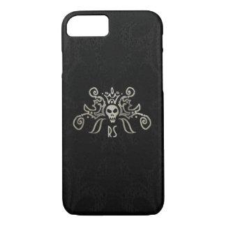 Black & Subtle Gold Monogrammed Skull Design iPhone 8/7 Case