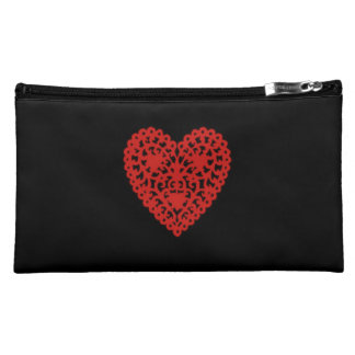 Black_Suede-Red-Heart-Valentine's(c) _Sueded_Bag Makeup Bags