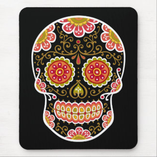 Black Sugar Skull Mouse Pad