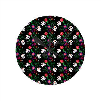 black sugar skull wall clock