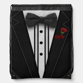 Black Suit Bow Tie and Rose Drawstring Bag