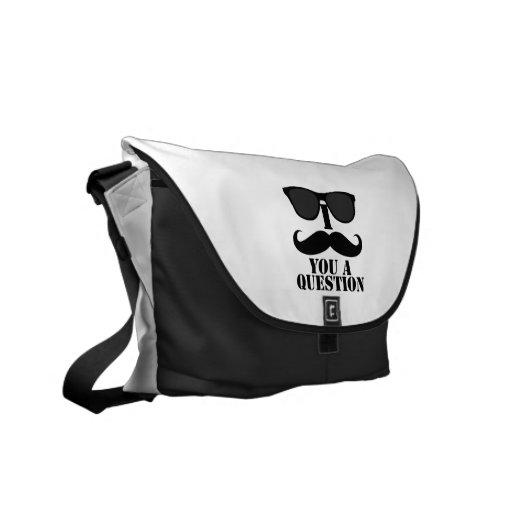 Black Sunglasses Black I Moustache You A Question Courier Bags
