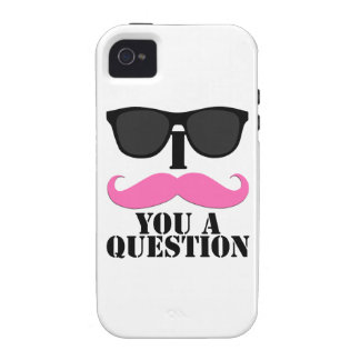 Black Sunglasses Pink I Moustache You a Question Case-Mate iPhone 4 Cases