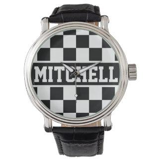 Black Super Checker Personalized Watch