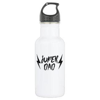 Black Super Dad Lightning Bolt Rock'n Roll Script 532 Ml Water Bottle