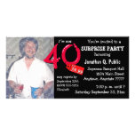 Black Surprise 40th Birthday Party Photo Invite Photo Card Template
