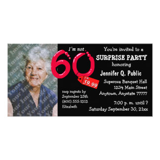 Black Surprise 60th Birthday Party Photo Invite Picture Card