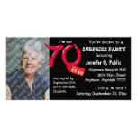 Black Surprise 70th Birthday Party Photo Invite Personalised Photo Card
