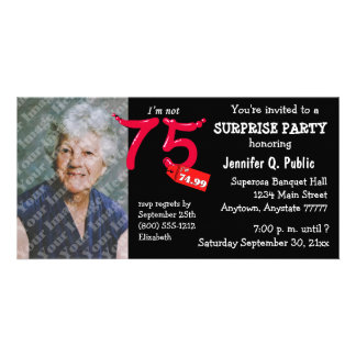 Black Surprise 75th Birthday Party Photo Invite Photo Card Template