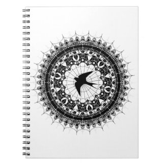 Black Swallow Spiderweb Mandala Black and White Notebook