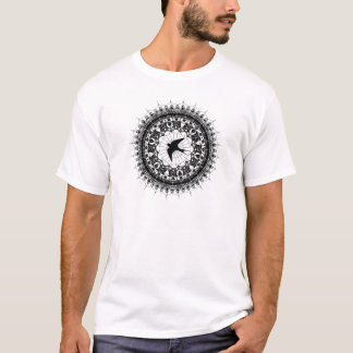 Black Swallow Spiderweb Mandala Black and White T-Shirt