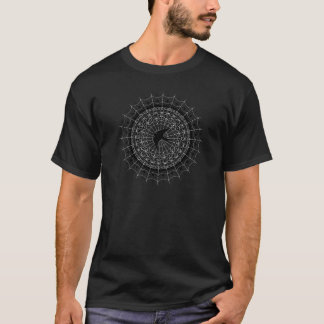 Black Swallow Spiderweb Mandala Black and White T-Shirt