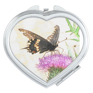 Black Swallowtail Butterfly Drawing Heart Mirror Makeup Mirrors