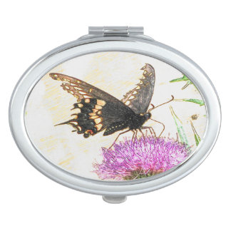 Black Swallowtail Butterfly Drawing Oval Mirror Makeup Mirror