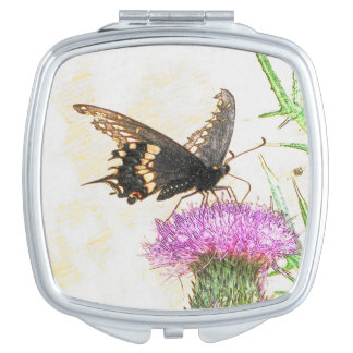 Black Swallowtail Butterfly Drawing Travel Mirror