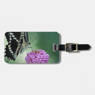 Black Swallowtail Butterfly on a Pink Flower Luggage Tag