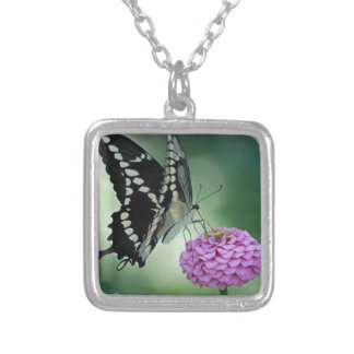 Black Swallowtail Butterfly on a Pink Flower Square Pendant Necklace