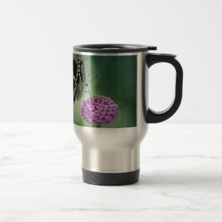 Black Swallowtail Butterfly on a Pink Flower Stainless Steel Travel Mug