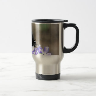 Black Swallowtail Butterfly on a Purple Flower Travel Mug