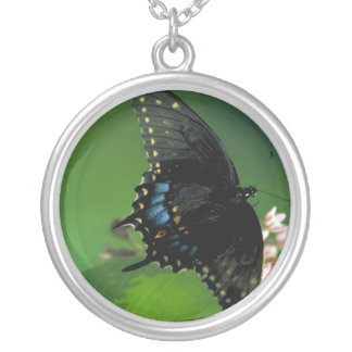 Black SwallowTail Butterfly on Flower Round Pendant Necklace