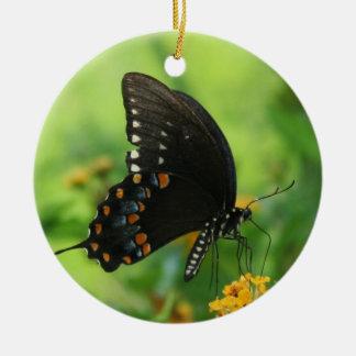 Black Swallowtail Butterfly on lantana Round Ceramic Decoration