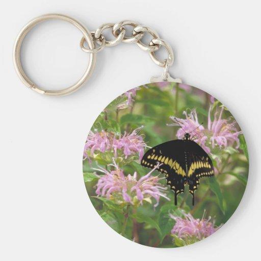 Black swallowtail butterfly photo keychain
