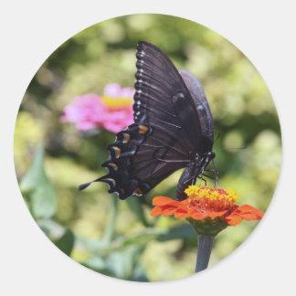 Black Swallowtail Butterfly Round Sticker