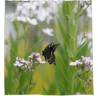 Black swallowtail butterfly shower curtain