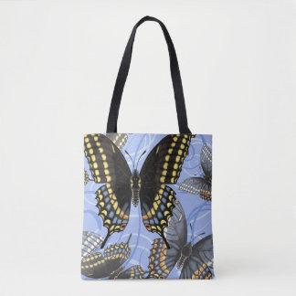 Black Swallowtail Butterfly Swirls Tote Bag