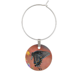 Black Swallowtail Butterfly Wine Charms