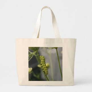 Black swallowtail caterpillar (parsleyworm) on Dil Large Tote Bag