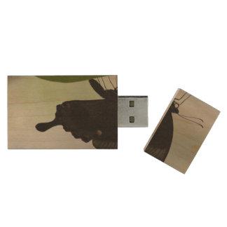 Black Swallowtail Wood USB 2.0 Flash Drive
