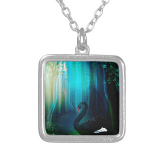 BLACK SWAN SILVER PLATED NECKLACE