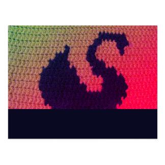 Black Swan Swimming Bright Crochet Print Postcard