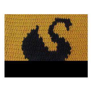 Black Swan Swimming Gold Crochet Printed Postcard