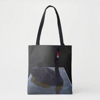 Black Swan Swimming In Dimensional Pond, Tote Bag