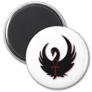 Black Swan with Ankh 6 Cm Round Magnet