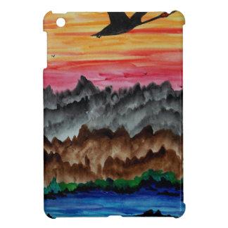 Black swans at sunset iPad mini case
