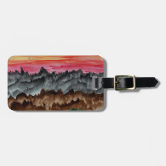 Black swans at sunset luggage tag