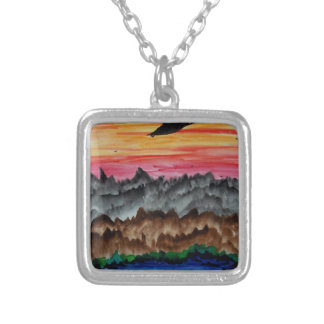 Black swans at sunset silver plated necklace