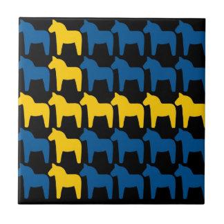 Black Sweden Dala Flag Small Square Tile