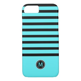 Black & Swimming Pool Aqua Blue Stripe Monogram iPhone 8/7 Case